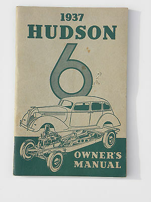 Original Vintage Old Owners Manual 1937 Hudson 6 Very Rare