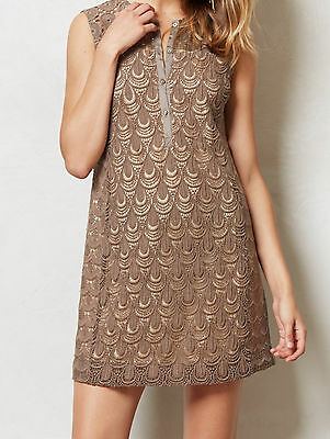 Tiny Shimmered Lace Shift Dress Size 0, 2 Taupe Color NW ANTHROPOLOGIE Tag