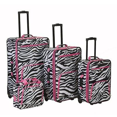 Rockland Fashion Expandable 4-Piece Luggage Set - Pink Zebra ...