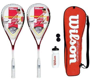 2 x Wilson Squash Racket Starter Kit with Balls, Waterbottle & Carrycase RRP £80