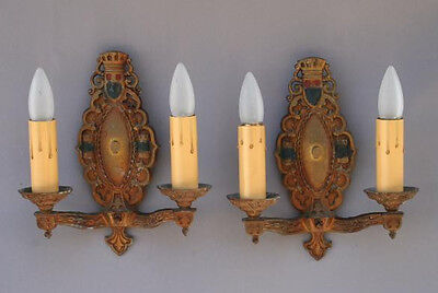 Pair 1920s Double Sconce Light Antique English Tudor Spanish Revival (3707)