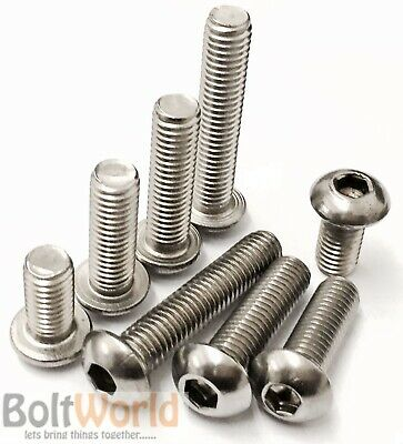 M3 / 3Mm A2 Stainless Steel Socket Button / Dome Head Allen Screw Bolts Iso 7380