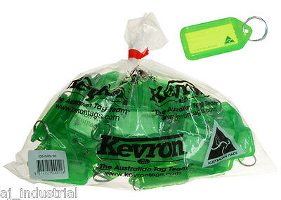 KEVRON CLICK KEY TAGS - GREEN - BULK PACK x 50 - PLASTIC LABELS - HOME OFFICE
