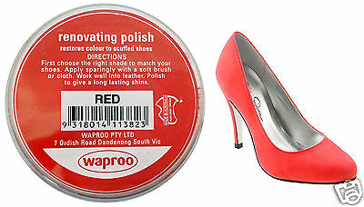 Red Shoe Polish Cream Restore Colour To Leather Shoes / Boots / Bags ( Waproo )