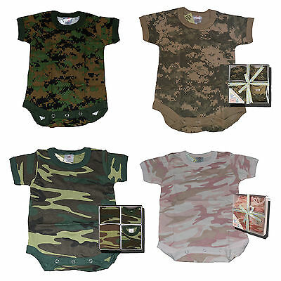 Infant Toddler Camo 1 Piece Bodysuits 3mo - 4T individual and Gift Box Sets