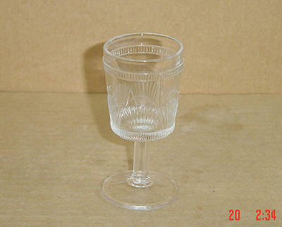 EAPG CRYSTAL DRAPED FAN US COMET WINE GOBLET FROM THE 1880'S