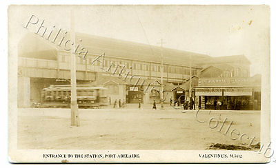 C1925 Rp Npu Postcard Tram At Pt Adelaide Railway Station/eustis Shop Sa I60