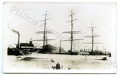 1905 Postcard Ship Cockermouth Port River Glanville Sugar Refinery Sth Aust I65