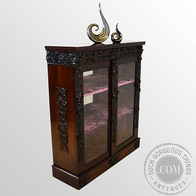 Antique Rosewood Glazed Bookcase Display Cabinet Mirror Back Late Regency c1830
