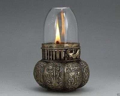 CHINESE MIAO SILVER HANDWORK OIL LAMP IN GOOD CONDITION