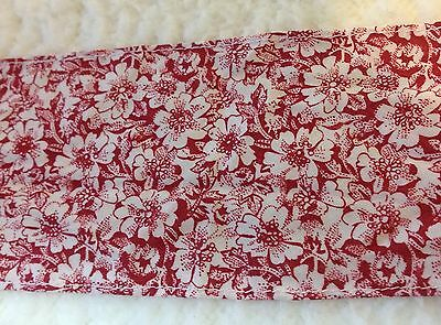 Burgundy Red with White Floral Cotton Blend Trim  3 1/2 inches wide   2 yard