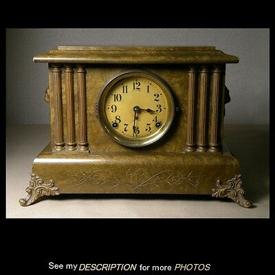 Antique Seth Thomas 6 Column Green Adamantine Mantle Clock
