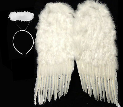 """Nice Large White Feather Wings + Halo Halloween Costume - HUGE 36"""" - 24"""" or 14"""""""