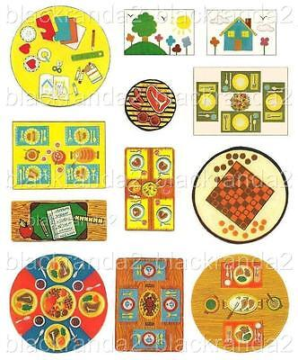 Vintage Fisher Price Little People Tables Replacement Lithos Stickers Decals 12
