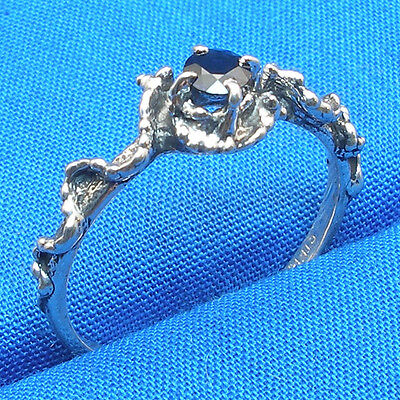 Blue Sapphire Mythological Stone Protector ring, hand crafted silver