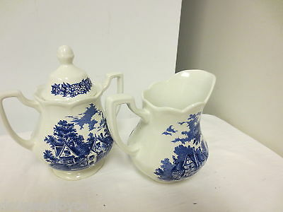 2-pc Older J & G Meakin England Merrie England Mkd Cream & Sugar-Lower Brockhamp