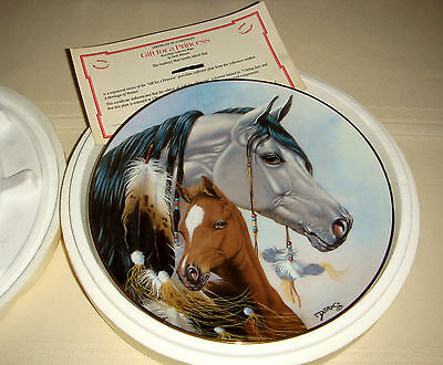 DERK HANSEN Heritage Of Horses Grey Mare Brown Foal GIFT FOR A PRINCESS Plate