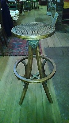 Antique Operators Stool-Industrial Barstool-Drafting Chair-Bentwood-Vintage