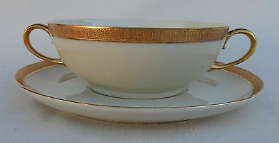 Vtg. Double Handle Cream/Soup Cup & Underplate Crown Lion Ivory, Hutschenreuther