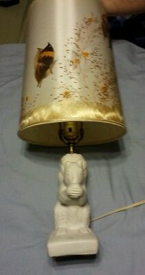 Vintage Van Briggle Pottery White Squirrel Lamp Light with Original Shade