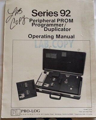 Pro-Log Series 92 Peripheral Prom Programmer/duplicator Operating Manual R3-S33