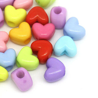 200PCs Acrylic Spacer Beads Love Heart Mixed 12mmx10mm