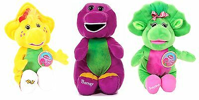 """New Official 12-14"""" Barney And Friends Plush Barney Baby Bop Bj Soft Toys"""