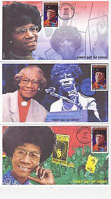 Jvc Cachets - Set Of 3-2014 Shirley Chisholm First Day Covers Fdc Black Heritage