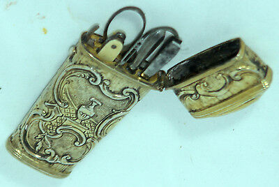 5 PC BRASS ETUI ; ORIGINAL Antique c1800's, INCREDIBLE DETAIL
