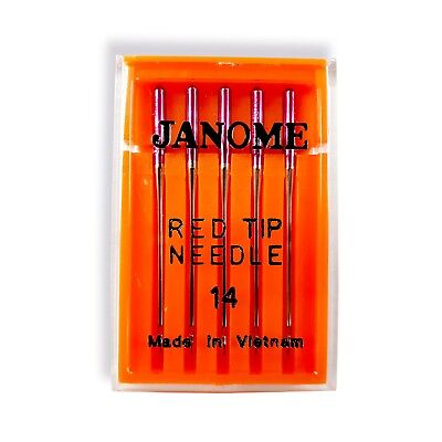 Janome Red Tip Needles Size 14 - Great for Embroidery, Stretch, Synthetics