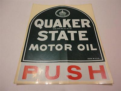 Original QUAKER STATE Motor Oil Glass Door Push Decal Tombstone Logo Dealer NOS