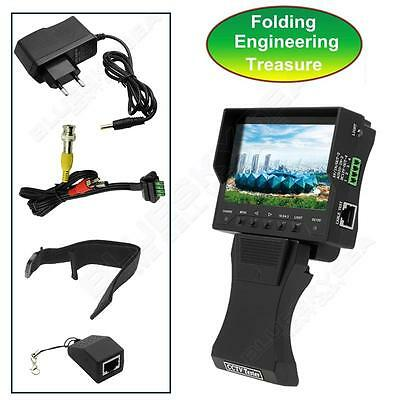 """4.3"""" Monitor Video Foldable Security CCTV 12V Output RJ45 Cable Tester Camera"""