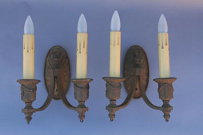 Pair 1920s Bronze Sconce Lights Mission Spanish Revival Antique Lighting (1895)
