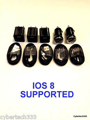 5x Charging Kits- 8 Pin Sync USB Cords + Wall & Car Chargers for iPhone6 5 5S 5C