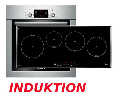 induktion herdset bosch backofen schwarz induktion kochfeld 80cm breit neu ovp eur. Black Bedroom Furniture Sets. Home Design Ideas
