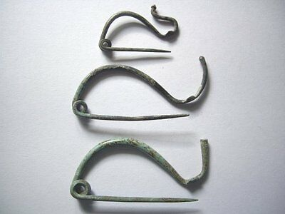 Extremely Rare Lot Of 3 Antiques Vi - Iii Bc. Bronze Fibula Brooch