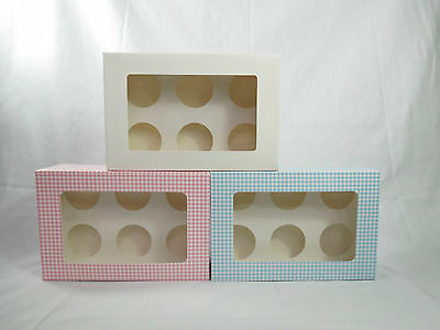 50 x LOT 6 holes cupcake box colours: Pink or Blue and white