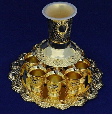 Judaica Shabbat WINE DIVIDER & 1 + 8 KIDDUSH CUPS GOLD PLATED ISRAEL GIFT