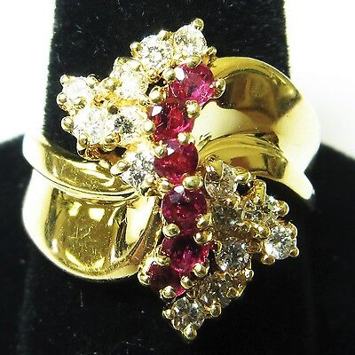 Estate $4600 14k Yellow Gold Ladies Natural Red Ruby and Diamond Cocktail Ring