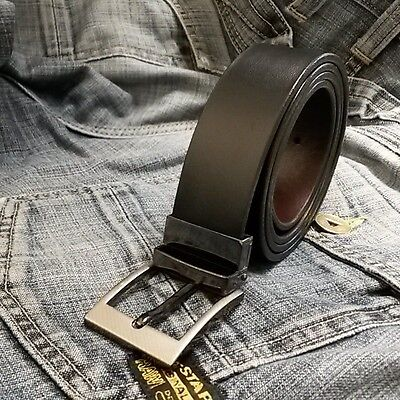 Mens New Leather Reversible Belts Metal Buckles - Black / Brown - Sizes 26-58""