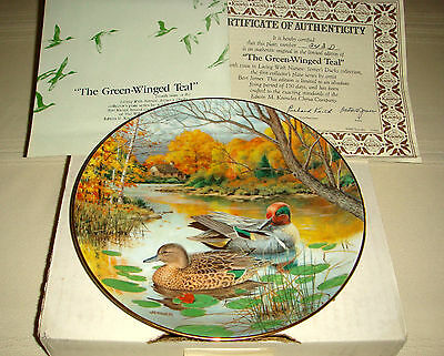 BART JERNER Nature Living Pigeon Size & Camouflaged Duck GREEN-WINGED TEAL Plate