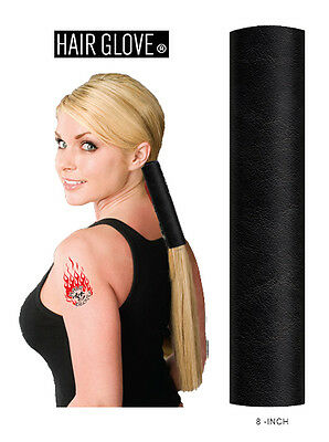 "Hair Glove® 8"" Solid Black Leather, 10120, Ponytail Holder, Biker Hair Wrap"