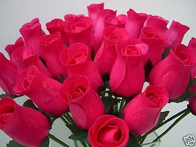 Wholesale Cerise Fuchsia Hot Pink Artificial Flowers Wooden Roses Summer Colour