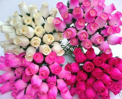 Wholesale Stock Clearance Cream & Cerise Fuchsia Hot Pink Wooden Roses Job Lot