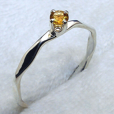 Citrine Hand Crafted Hammered Faceted Sterling Silver Band, November birthstone