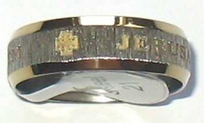 SIZE US # 11 1/2  GOLDEN LETTERS JERUSALEM CROSS STAINLESS STEEL RING