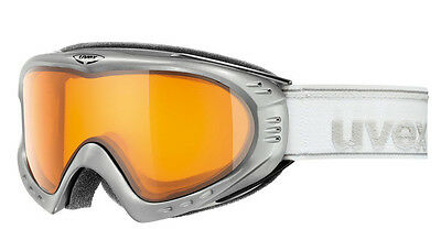 Uvex F 2 Ski Skiing Goggles Unisex Mens Womens Metallic Silver Double Lens New