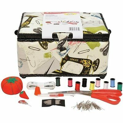 Singer Vintage Sewing Basket with Sewing Kit Accessories, Free Shipping, New