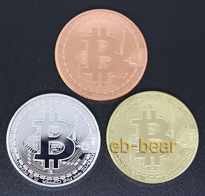 Wholesale Lots 3 Pcs Bitcoin Collectible Coin Gold-plated Silver-plated Copper
