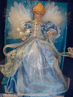 Fiber Optic Angel Blue & White With Silver Ribbon & Beads 12 In (30.48 Cm)